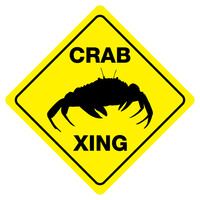 "CRAB CROSSING Funny Novelty Crossing Sign 12""x12"""