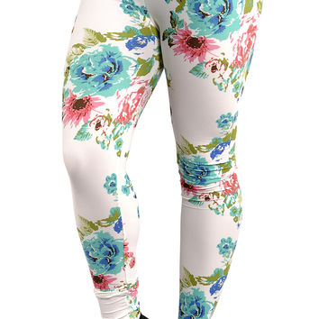 BadAssLeggings Women's Floral Leggings Small White