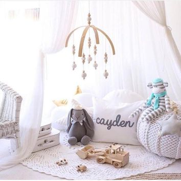 Wood Bed Bell Wind Bell Baby Mobiles Toy Stroller bell Hook Wood Beads Bed Hanging Decoration Pacifier Toys Children Kids Gift