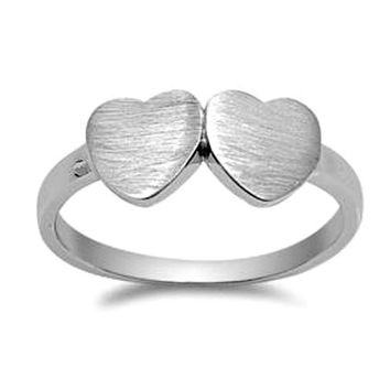.925 Sterling Silver Twin Double Heart Ring Ladies size 4-10