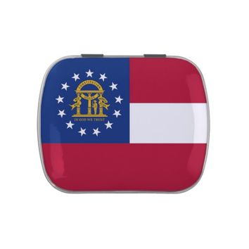 Patriotic candy tins with Flag of Georgia