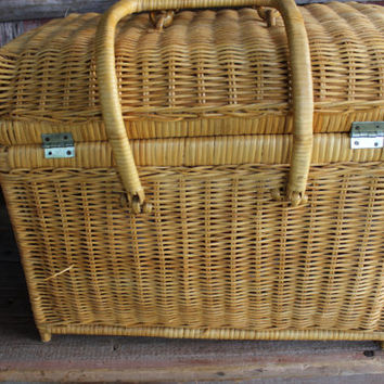 Vintage wicker picnic basket w/ serving pieces, surprise engagement picnic basket, camping dishes, retro picnic basket, large picnic hamper