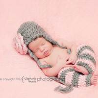 Baby Bella Set - Soft Grey & Petal Pink - Newborn Photography Prop - newborn crochet hat, newborn legging, newborn set, photography