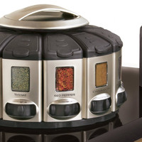 Auto­-Measure Automatic Spice Dispenser Organizer Carousel without Spices,Stainless Steel