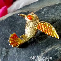 """Vintage Brooch - Marked Gerry's - Gold 7/8"""" Hummingbird - Orange and Yellow Enamel - Scatter Pin - Majestic Piece of Costume Jewelry"""