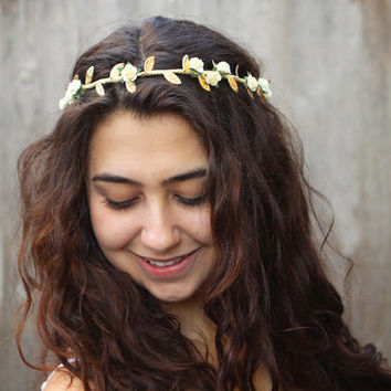 Gold Leaf and Ivory Rose Crown. Greek Goddess, Bridal Headpiece, Bridal Flower Crown, Gold Leaf Headpiece, Leaf, Circlet, Greek Wedding