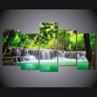 Paradise Tropical Waterfall 5-Piece Wall Art Canvas