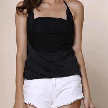 Black Halter Backless Tank Top