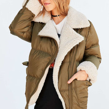 Silence + Noise Jessa Sherpa Lined Puffer Coat - Urban Outfitters