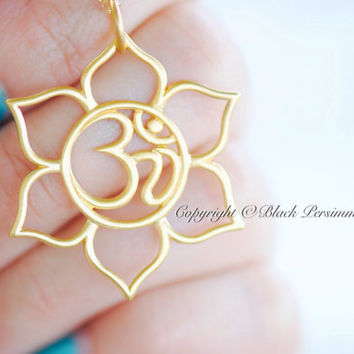NEW - Lotus with Ohm Center Necklace - Large 24K Gold Plated Sterling Silver Vermeil Omkara Om Symbol Pendant - Free Domestic Shipping