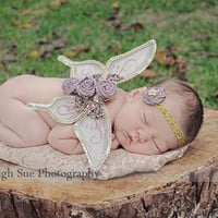 newborn photo prop baby girls stunning vintage sparkle butterfly wings and headband gold and dusty rose FREE shipping