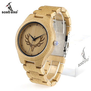 BOBO BIRD M09 Full Bamboo Watch for Men Top Brand Luxury Quartz Wristwatch Bmaboo Band and Antlers Dial Face Watches in Gift Box