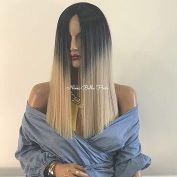 Ombre blond BLUNT CUT lace front hair wig | China 418 16*