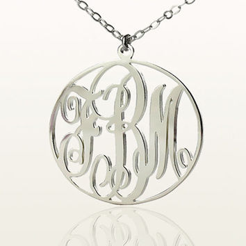 Personalized Initial monogram necklace, custom 925 sterling silver monogram name necklace - 18k gold plated