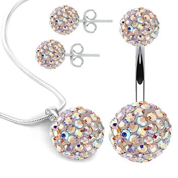BodyJ4You Belly Button Ring Necklace Earrings Gift Set 14G Bar P e0f01fd382c3