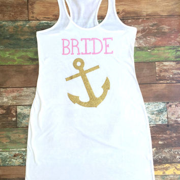 Bridesmaid Tank Dress, Bridesmaid gift, Swimsuit Coverup, Brides Mate, Mate of Honor, Anchor Coverup, Bachelorette Party Tank Dress