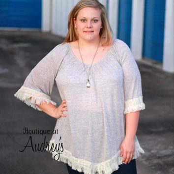 Tassels n Lace Plus Lightweight Heather Gray Tunic with Fringe Trim
