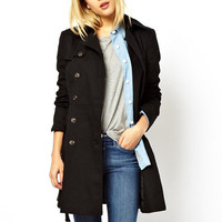 Black Side Buttoned Trench Coat