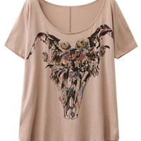 Peach Floral Short Sleeve T-shirt