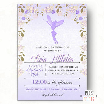 Purple Fairy Birthday Invitation // Fairy Garden Birthday Invitation // Fairy Birthday Party // Printable Birthday Invitations for Girls