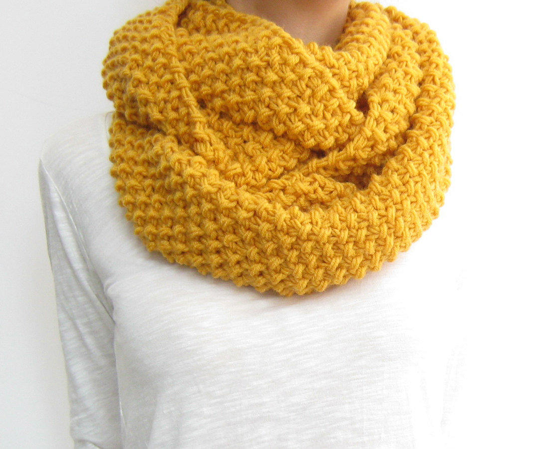 Honey gold infinity scarf, knit loop from sascarves on Etsy
