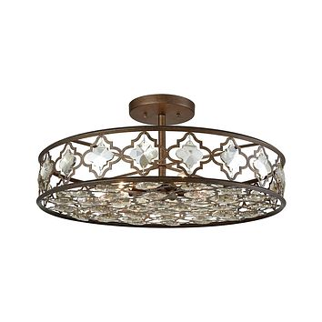 31093/8 Armand 8 Light Semi Flush In Weathered Bronze With Champagne Plated Crystal