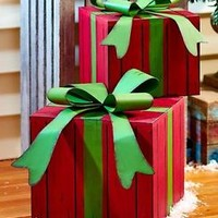 Set Of 2 Gift Boxes Presents Christmas Holiday Decorations Porch House Decor