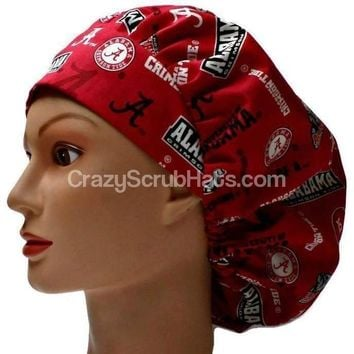 Women's Bouffant, Pixie, or Ponytail Surgical Scrub Hat Cap in Alabama Crimson Tide Allover