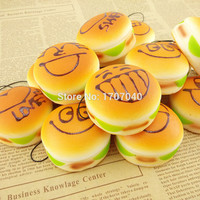 5CM  Mini Expression Squishy Hamburger Key Chain Soft Bread Scented Phone Charms Bun Straps