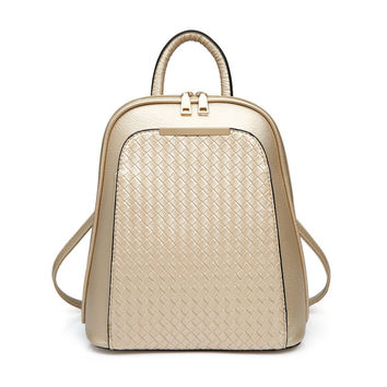 Womens Leather Backpack Lattice Gold