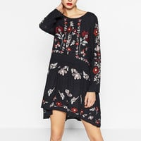 2017 New Arrival Women Fashion Brand Floral Embroidered Dress Women Round Neck Long Sleeve Vintage Navy Dress