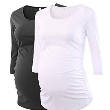 Pinkydot Womens Side Ruched 34 Sleeve Maternity Scoopneck T Shirt Top Pregnancy Clothes