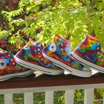 made to order tie dye converse shoes hi top