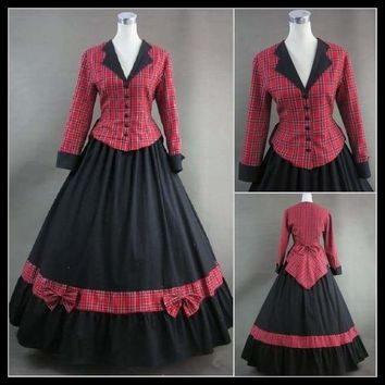 Civil War Victorian Tartan Style Ball Gown Day Dress Prom Cosplay Retro Lolita Dress For Halloween Party Fashion With Design