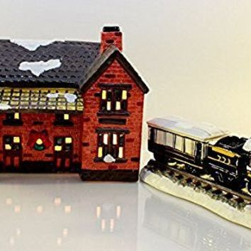 "Department 56 the Original Snow Village "" Depot and Train with 2 Train Cars "" #50512"