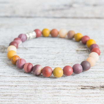 Frosted mookaite beaded stretchy bracelet, custom made yoga bracelet, mens bracelet, womens bracelet