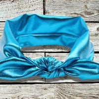 Metallic Blue Knot Headband