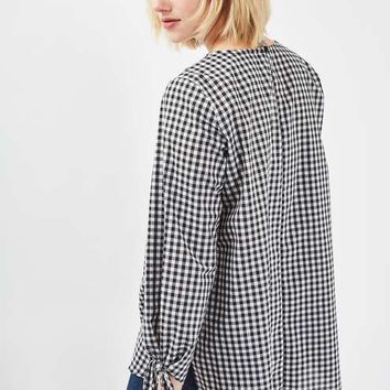 Gingham Tie Sleeve Top - Tops - Clothing
