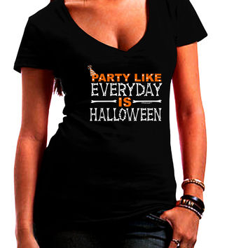 Everyday Is Halloween Juniors V-Neck Dark T-Shirt