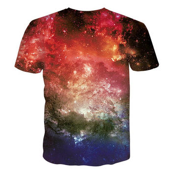 Fashion Brand Men/women 3d t-shirt funny print glasses cat space galaxy t-shirt slim summer anime to