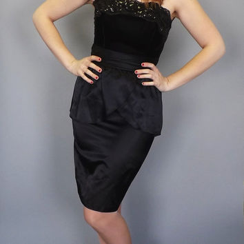 Vintage Sexy 50s 60s Style Satin Sequin Wiggle Dress Short Strapless Party Cocktail Peplum Dress Petite Small 80s Prom Bridesmaid Roberta
