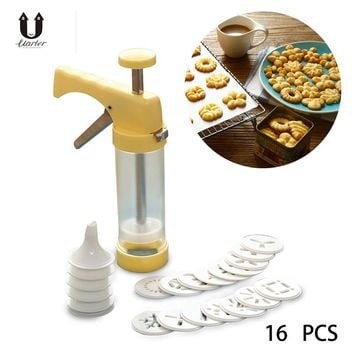 UARTER 16PCS DIY cake Cookie making machine Baking Pastry Tips biscuit cookie cutter pastry Tools Cookie Mold Press Gun