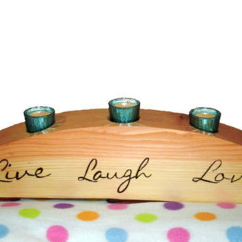 Wood Candle Holder Live Laugh Love  by BillsWoodenPleasures