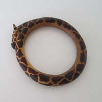 Hand Carved Wood Giraffe Bracelet for Smaller Wrist Animal Jewelry