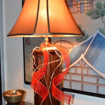 "Beautiful  Mahogany Octagon Table Lamp  40"" T...Kagumise's  ""Mokuzai Lamp Collection"" Includes Shade (Holiday Special)."