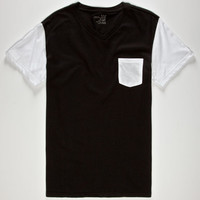 Blue Crown Contrast Mens Pocket Tee Black/White  In Sizes