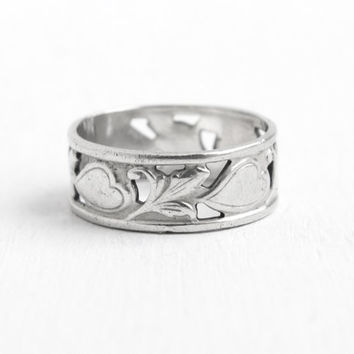 Vintage Sterling Silver Heart Vine Eternity Ring - Retro Size 7 Cigar Band Style Signed CC Clark Coombs Leaf Jewelry