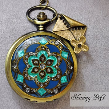 Vintage style Blue Watch necklace with crystals and by Shininggift