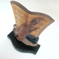 Syroco Wood Violin Bookend Musical Instrument Sheet Music Table Decor