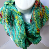 Winter Rainbow Bamboo Wool Crocheted Cowl Scarf Turquoise Blue with Multicolored Accents